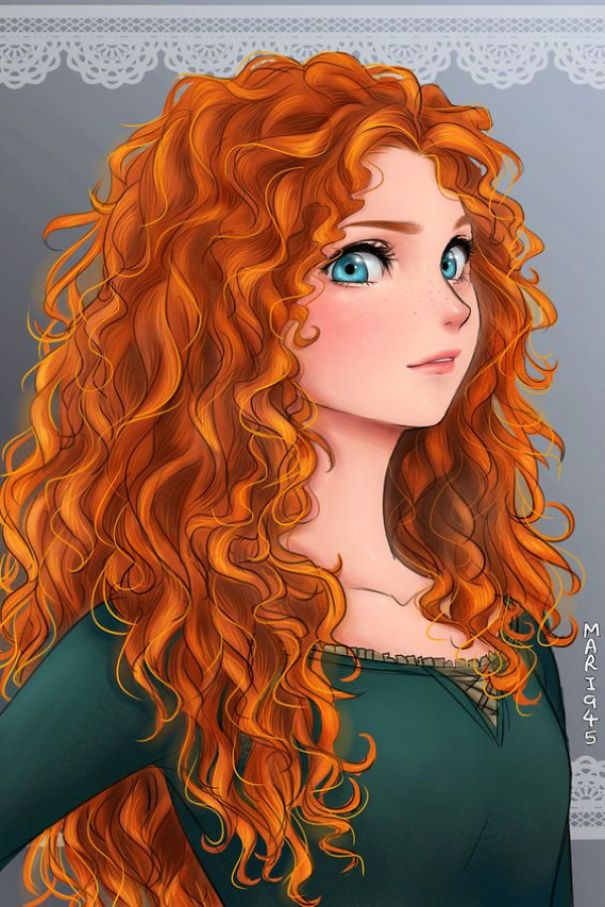 605x907 I Draw Disney Princesses As Anime Characters Brave Merida