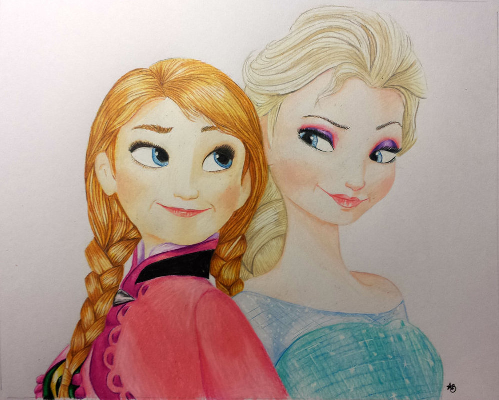 998x801 Anna And Elsa Frozen Drawing 20x25cm For Sale. By Annvasart