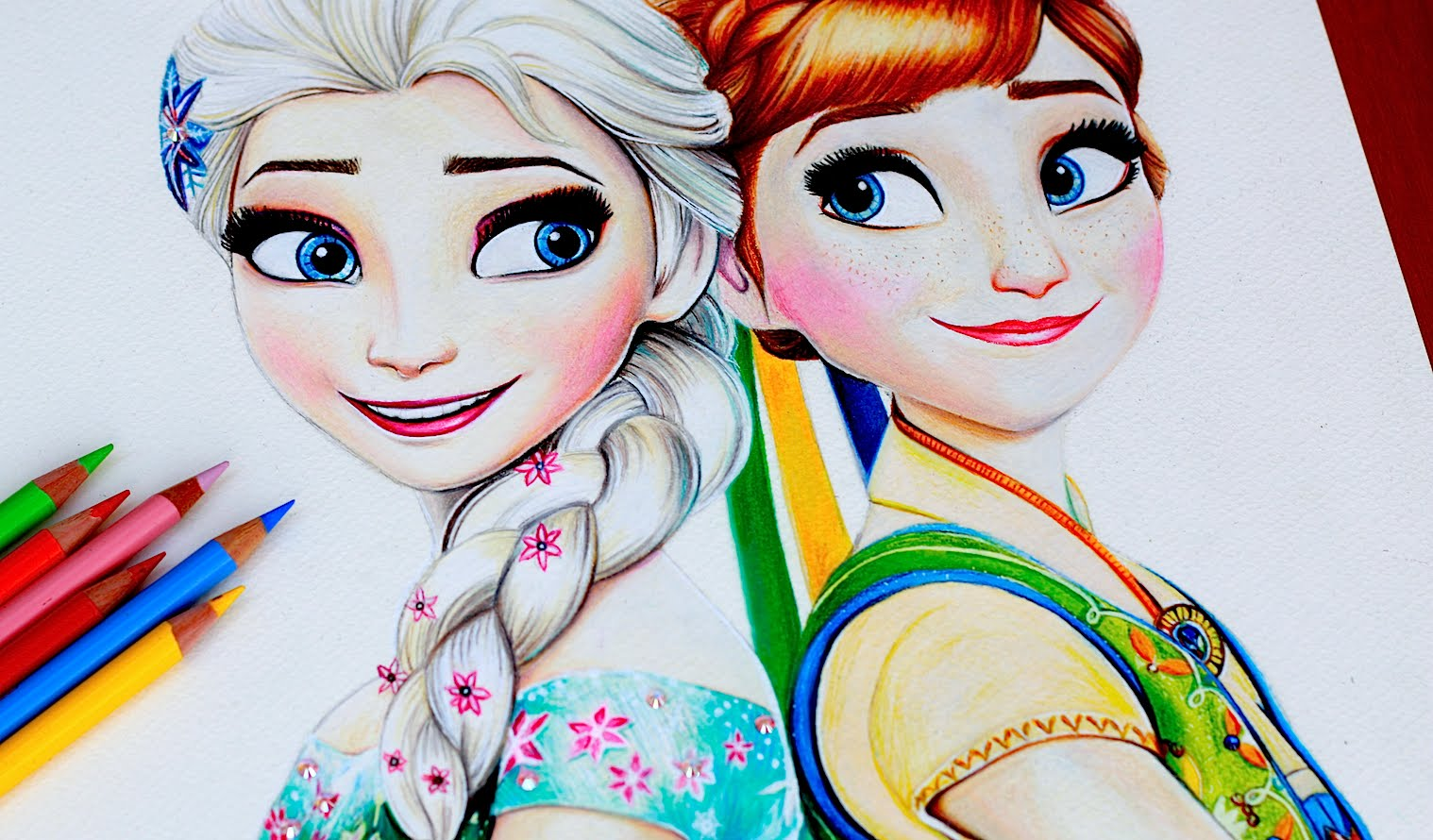 1518x890 Elsa Amp Anna Drawing Frozen Fever