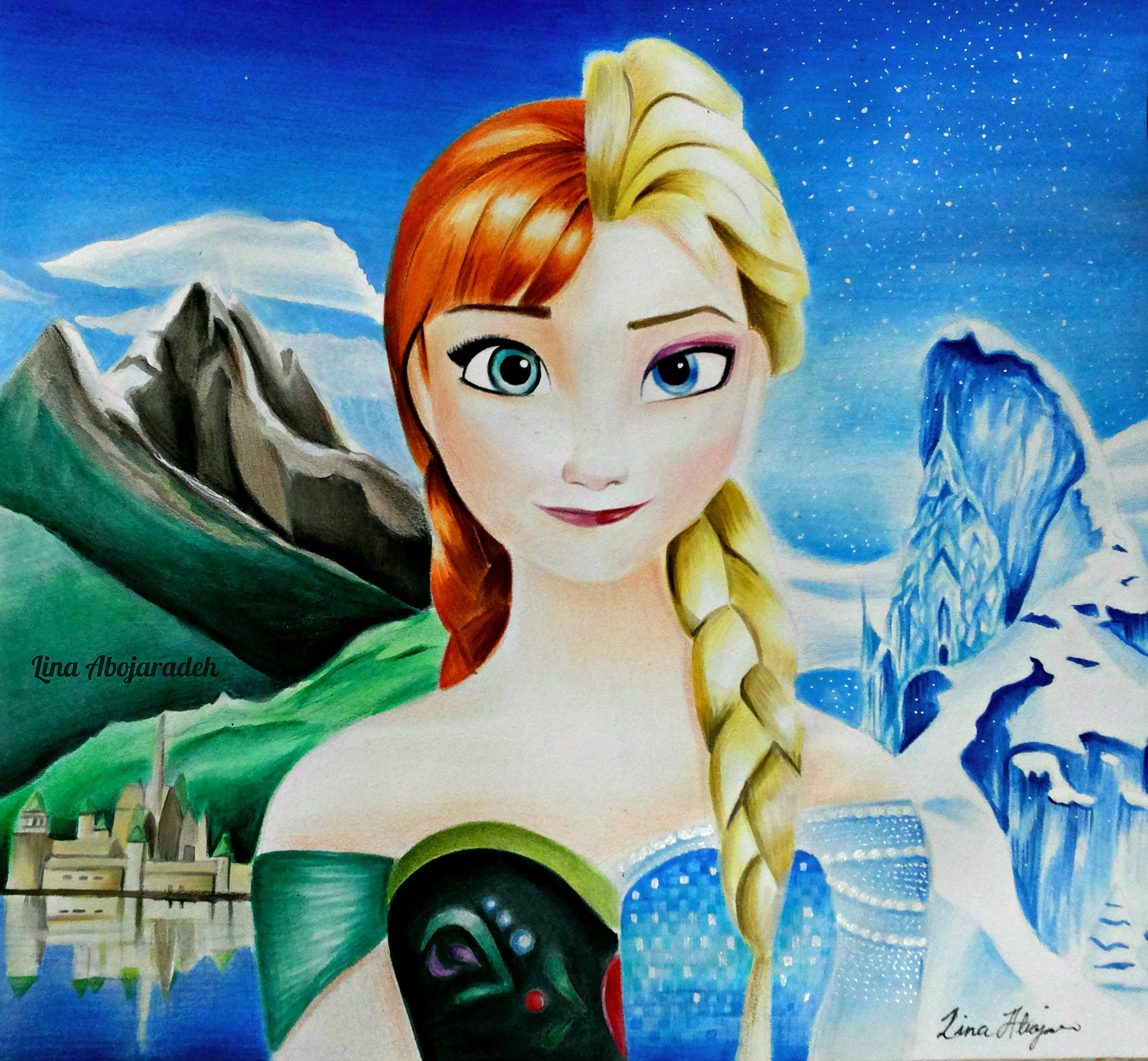 2501x2313 Frozen Drawing Queen Elsa And Anna Speed Drawing