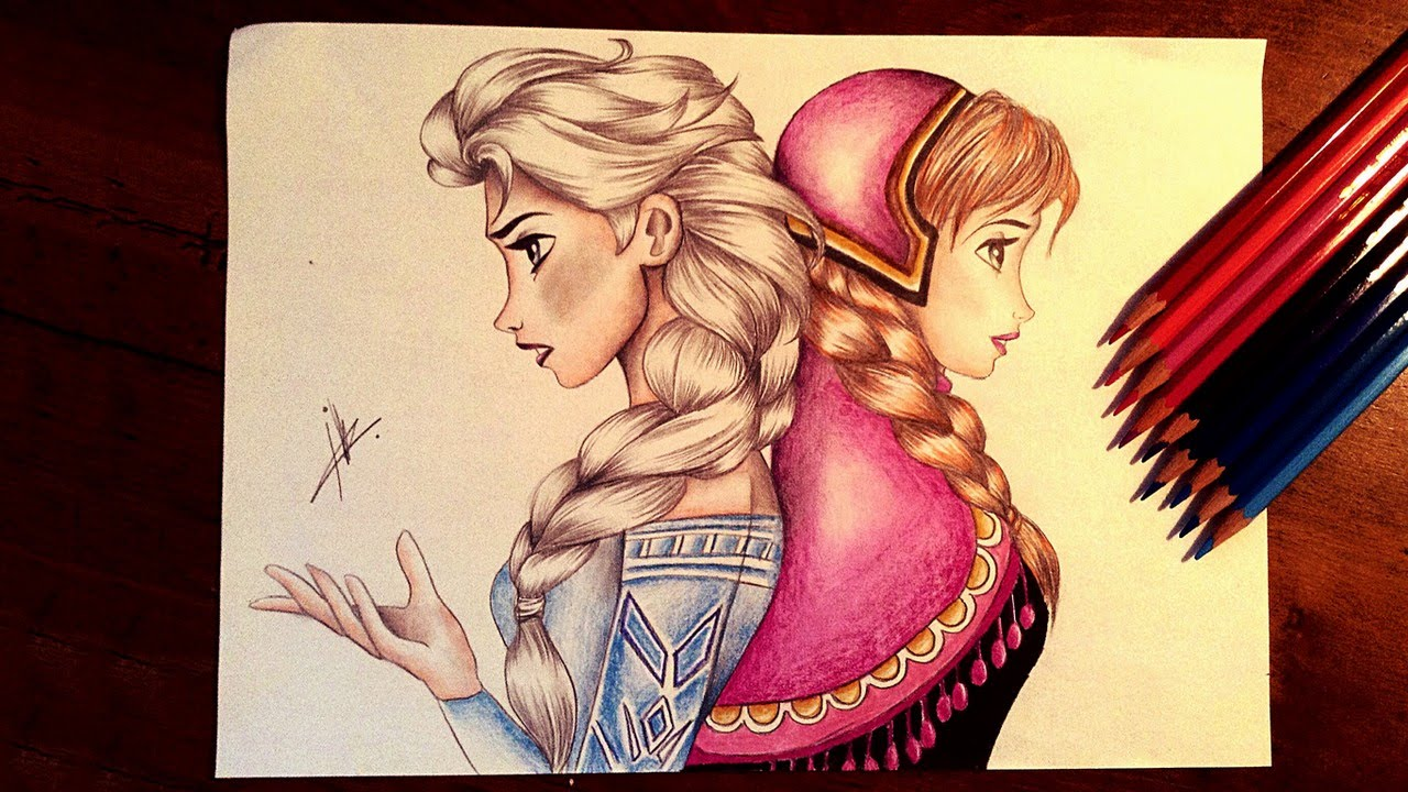 1280x720 Frozen Drawing Elsa And Anna