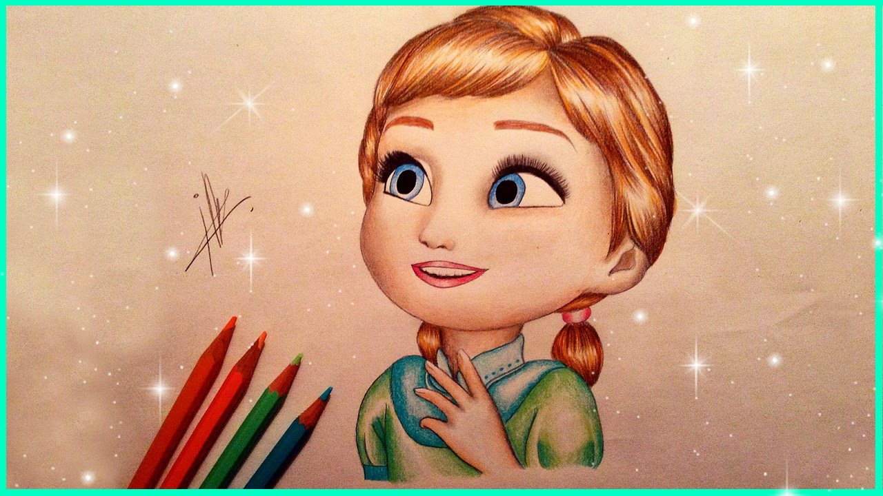 1280x720 Drawing Baby Anna From Frozen