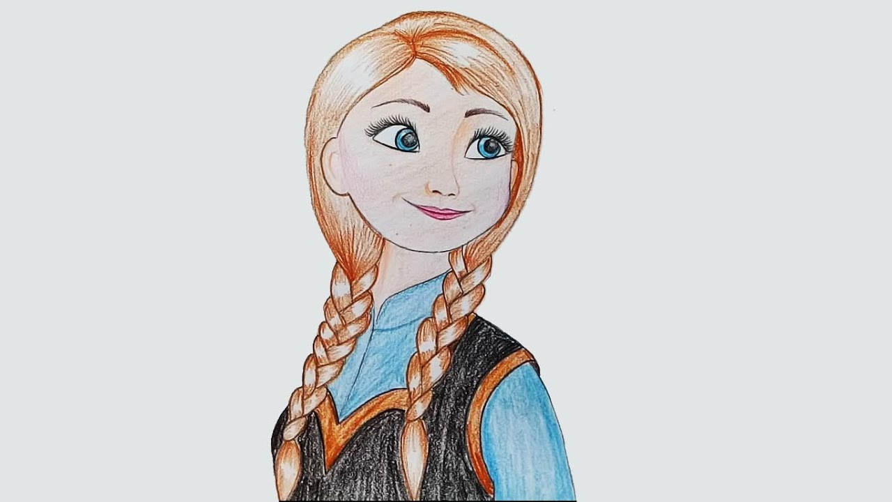 1280x720 How To Draw Anna ( Frozen) Step By Step (Very Easy)