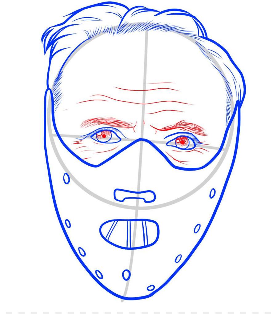 900x1020 Hannibal Lecter Drawing Line Art Cartoon Mask