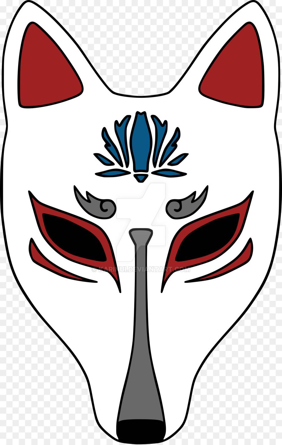 900x1420 Kitsune Mask Drawing Logo