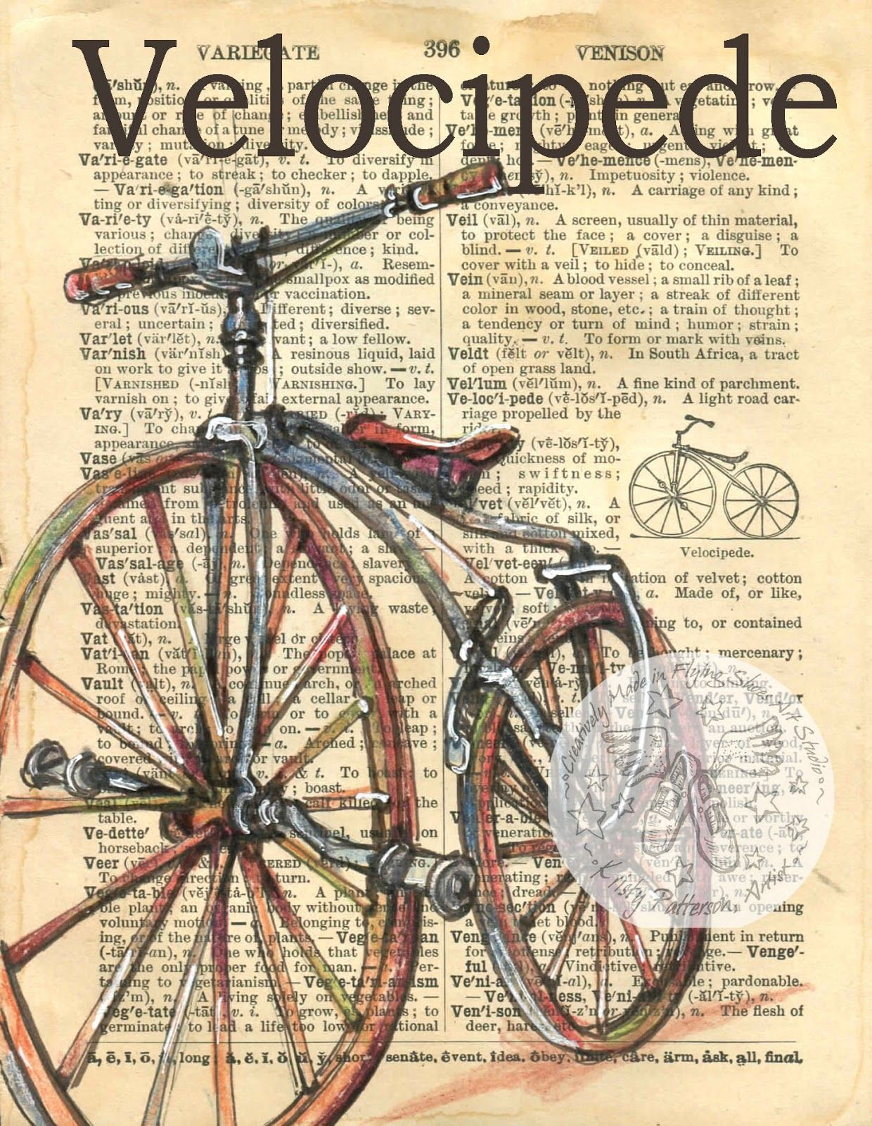 1240x1600 Velocipede Antique Bicycle Drawing On 1890's Edition Dictionary