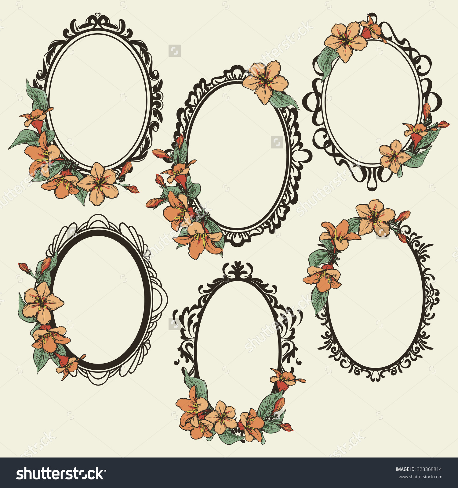 1500x1600 Stock Vector Set Of Vintage Oval Frames Decorated With Flowers And