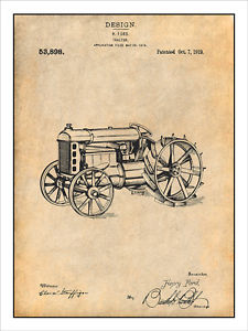 225x300 1919 Henry Ford Antique Tractor Patent Print Art Drawing Poster