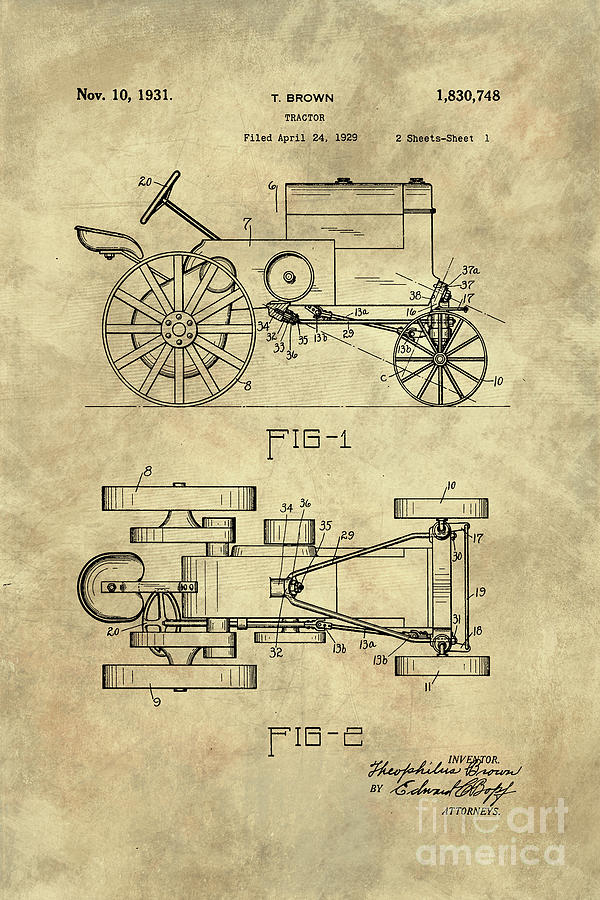600x900 Antique Tractor Blueprint Patent Drawing Plan From 1929