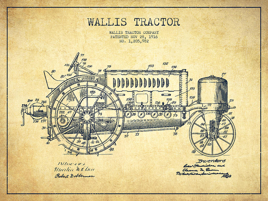 900x675 Wallis Tractor Patent Drawing From 1916