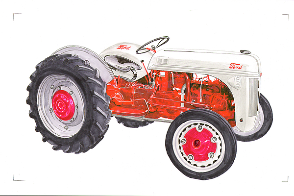 600x400 Watercolor Amp Colored Ink Drawing Painting Of Vintage Farm Tractor