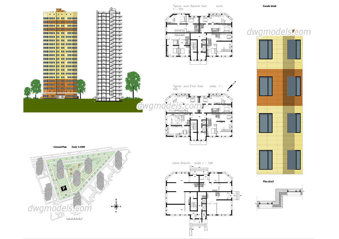 1080x760 Apartment Autocad Plans, Free Cad Drawings Download