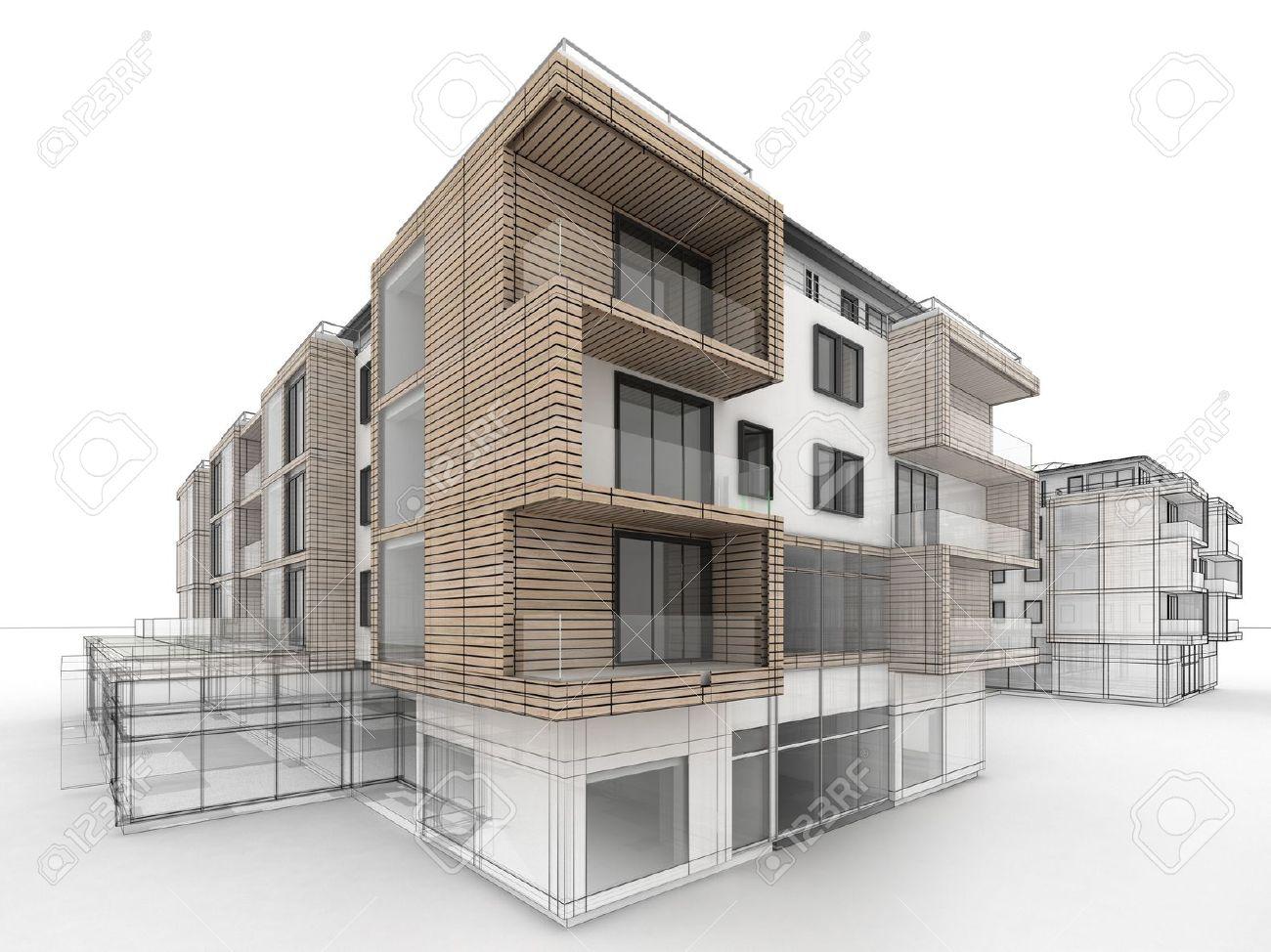 1300x974 Apartment Building Design Progress, Architecture Visualization