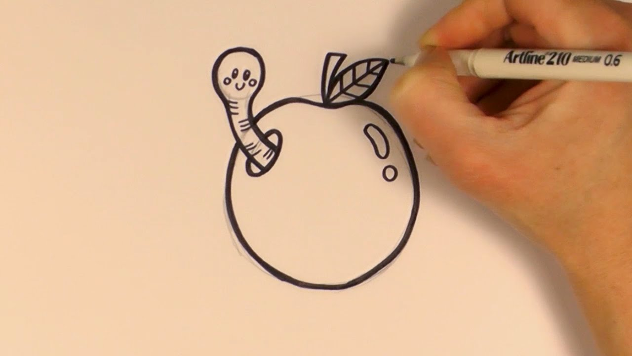1280x720 How To Draw A Cartoon Worm In An Apple