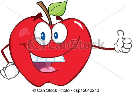 450x319 Smiling Apple Holding A Thumb Up. Smiling Apple Cartoon Vector