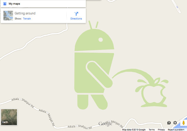 640x450 Android Spotted Peeing On Apple Logo In Google Maps
