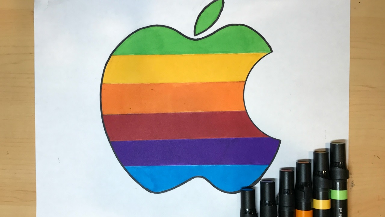 1280x720 How To Draw The Rainbow Apple Logo Logo Drawing