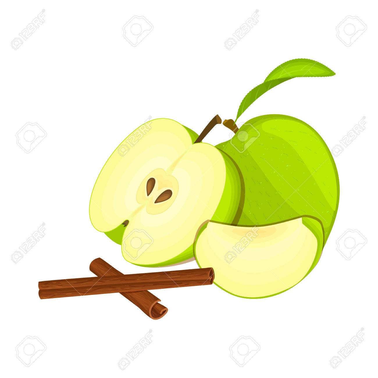 1300x1300 Vector Drawing Of A Few Apples With Spice. Green Apple Fruits