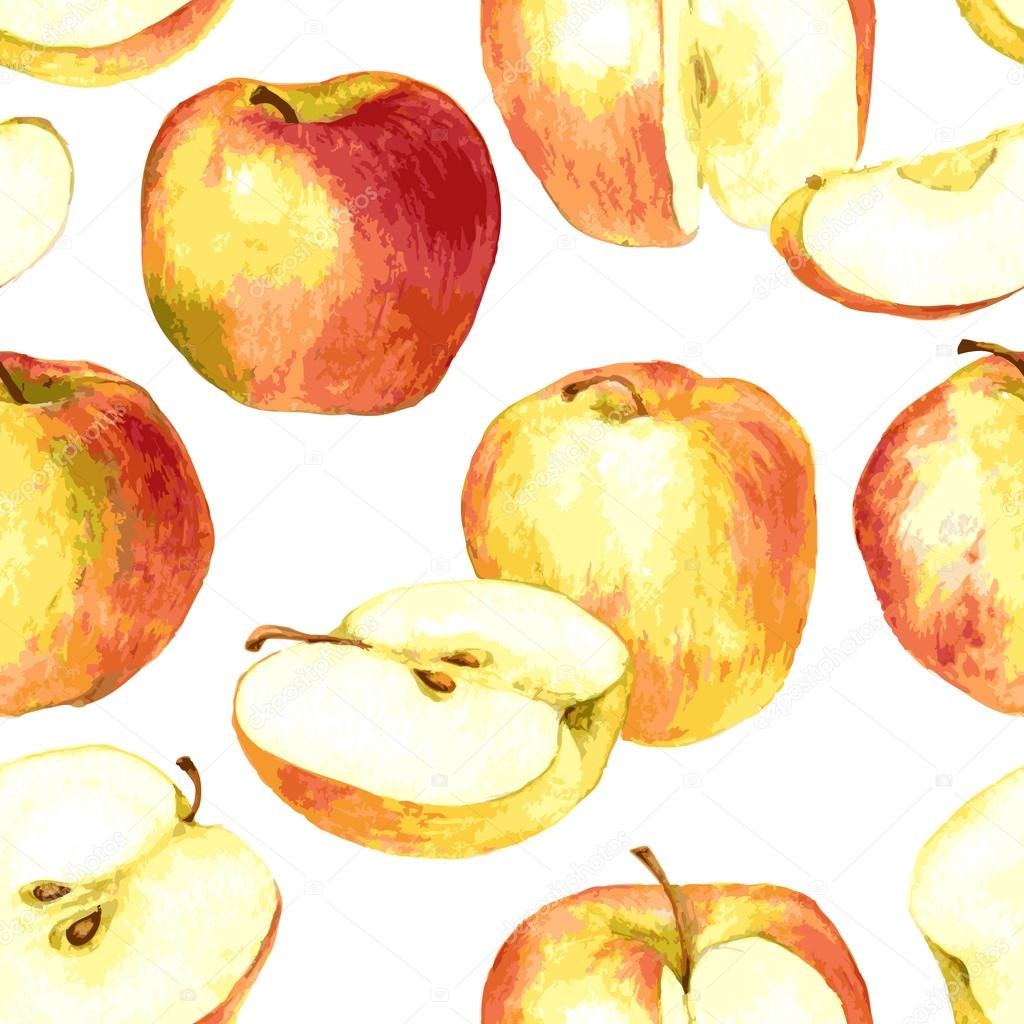 1024x1024 Seamless Pattern With Apples Drawing By Watercolor Stock Vector