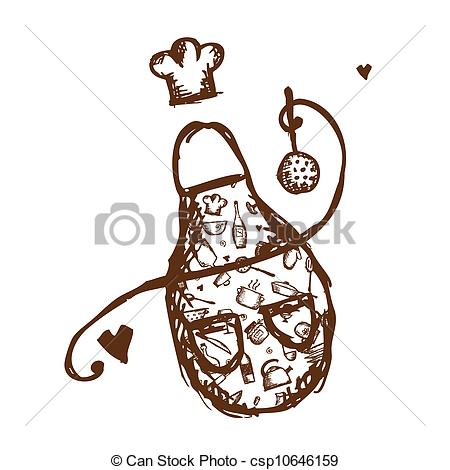 450x470 Funny Apron With Kitchen Utensils Sketch For Your Design Clipart