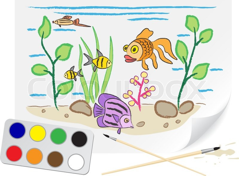 800x590 Children Drawing The Aquarium A Brush Paints On A Paper Stock