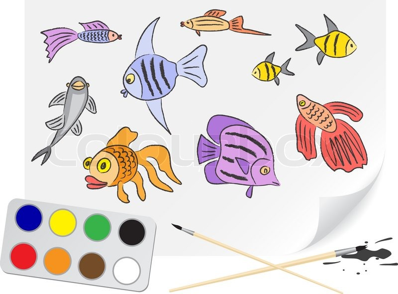 800x590 Children Drawing The Aquarium Fishes A Brush Paints On A Paper