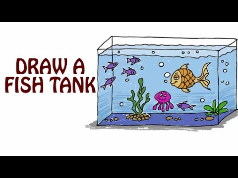 480x360 Learn How To Draw A Fish Tank Fish Tank Drawing For Kids Basic