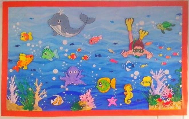 661x416 Aquarium Wall Decoration Idea For Pre School Kids Sharing Creativity