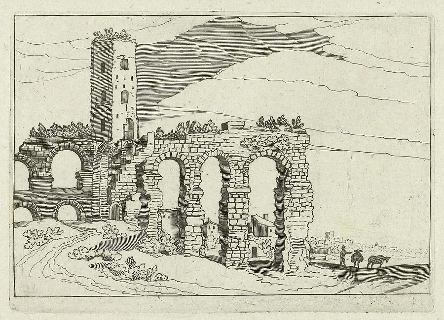 900x650 Ruin Aqueduct, Willem Van Nieulandt Ii Drawing By Willem Van