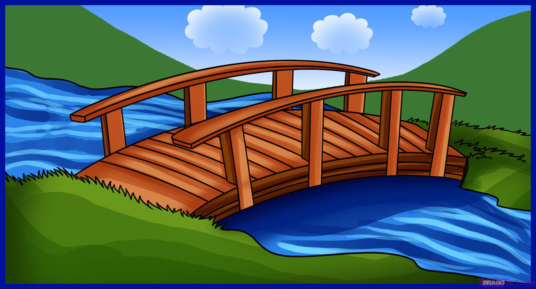 1852x1000 How To Draw A Bridge, Step By Step, Bridges, Landmarks Amp Places