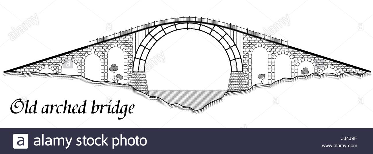 1300x540 Old Arched Bridge Made Of Stone And Steel. Silhouette Of A Tall