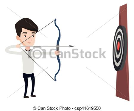 450x374 Caucasian Bowman Shooting With Bows During Archery Clipart