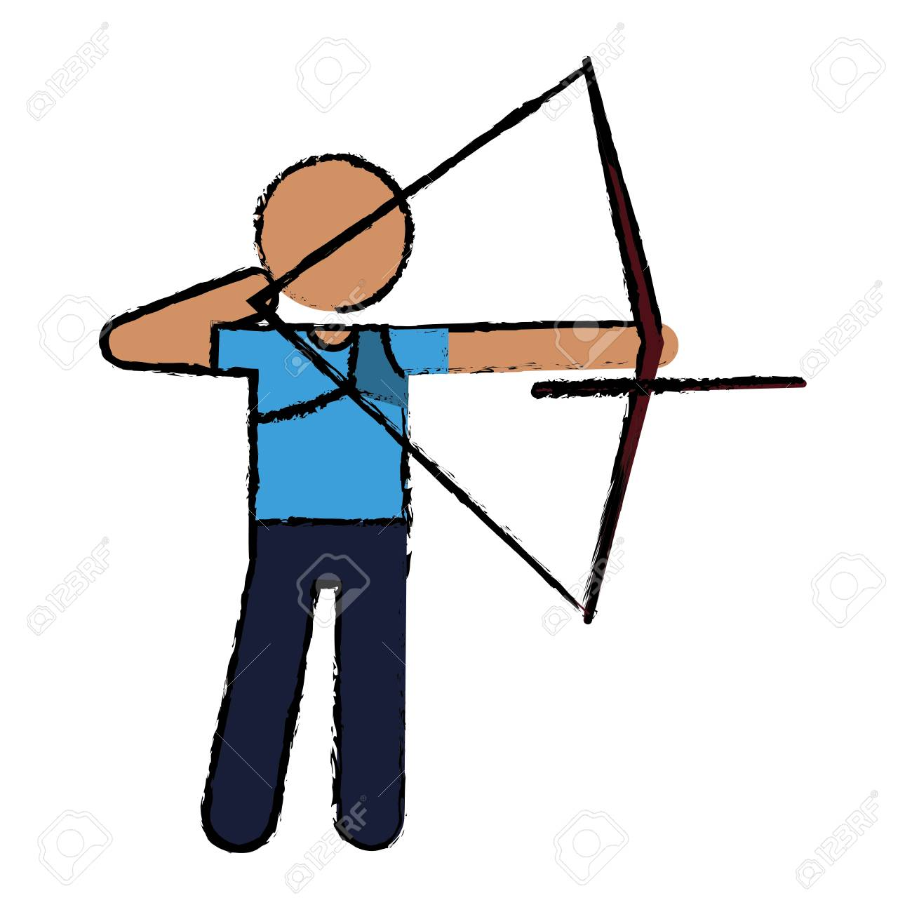 1300x1300 Drawing Archery Player Aiming Bow Game Vector Illustration Eps