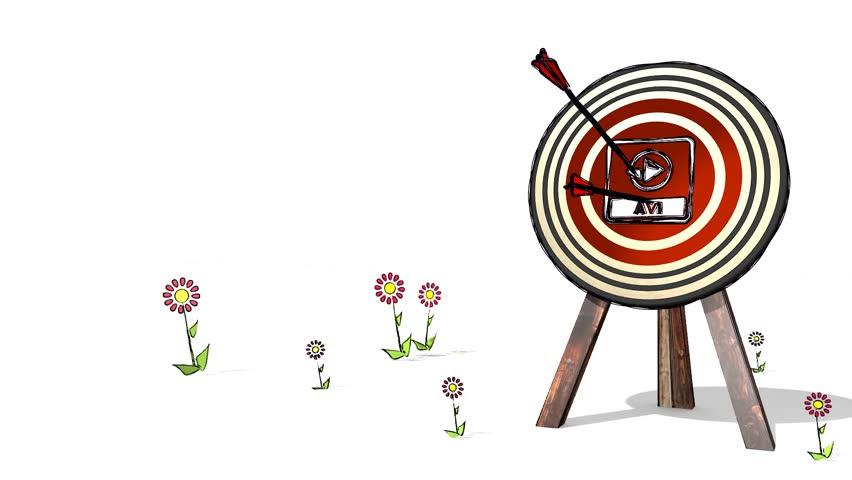 852x480 Hit The Score Of A Archery Avi File Sign Target. A Stick Man