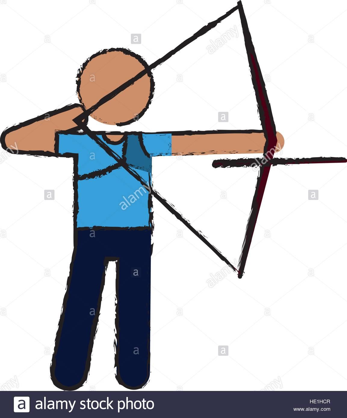 1153x1390 Drawing Archery Player Aiming Bow Game Stock Vector Art