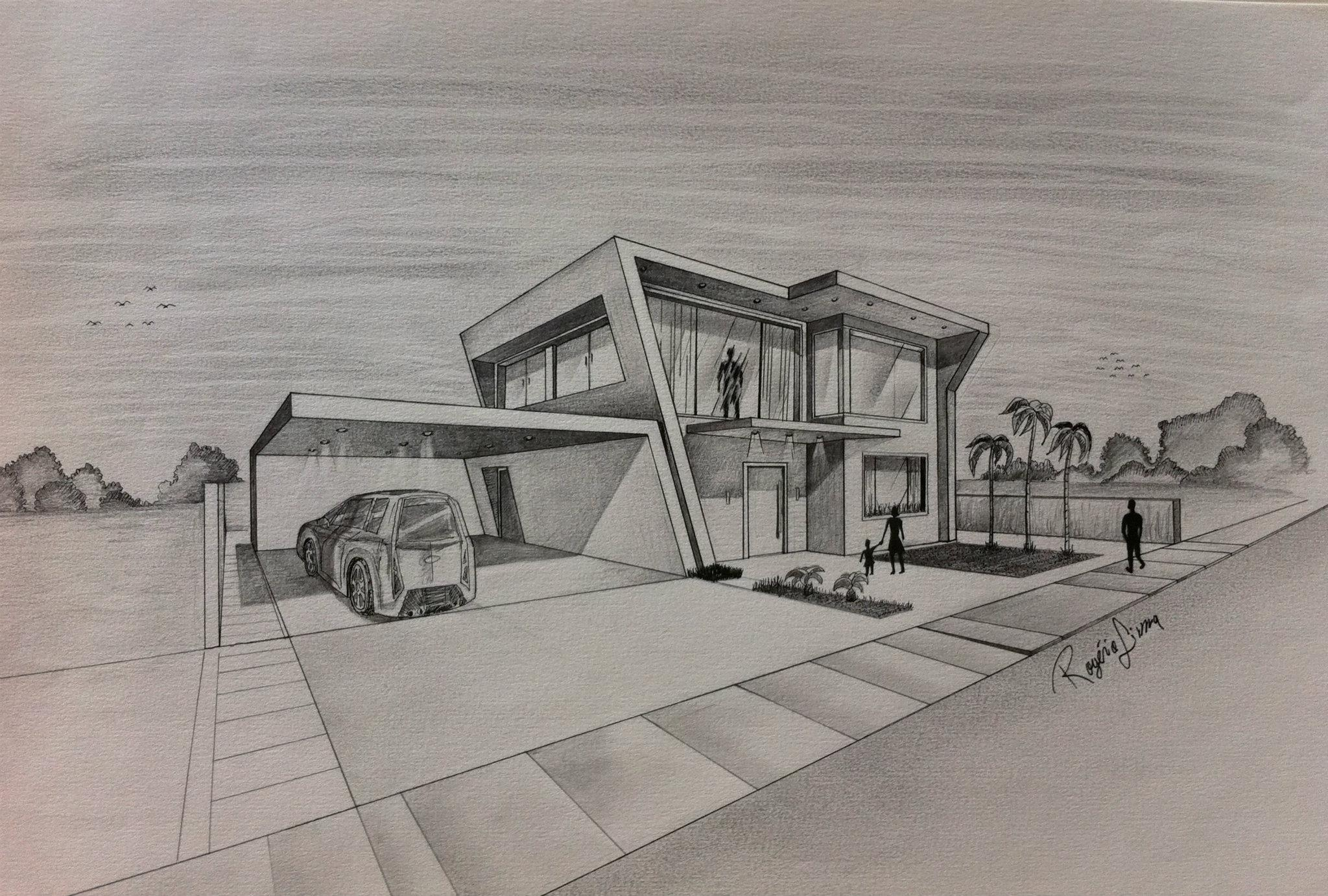 Architect hand drawing at free for for Draw house plans on computer
