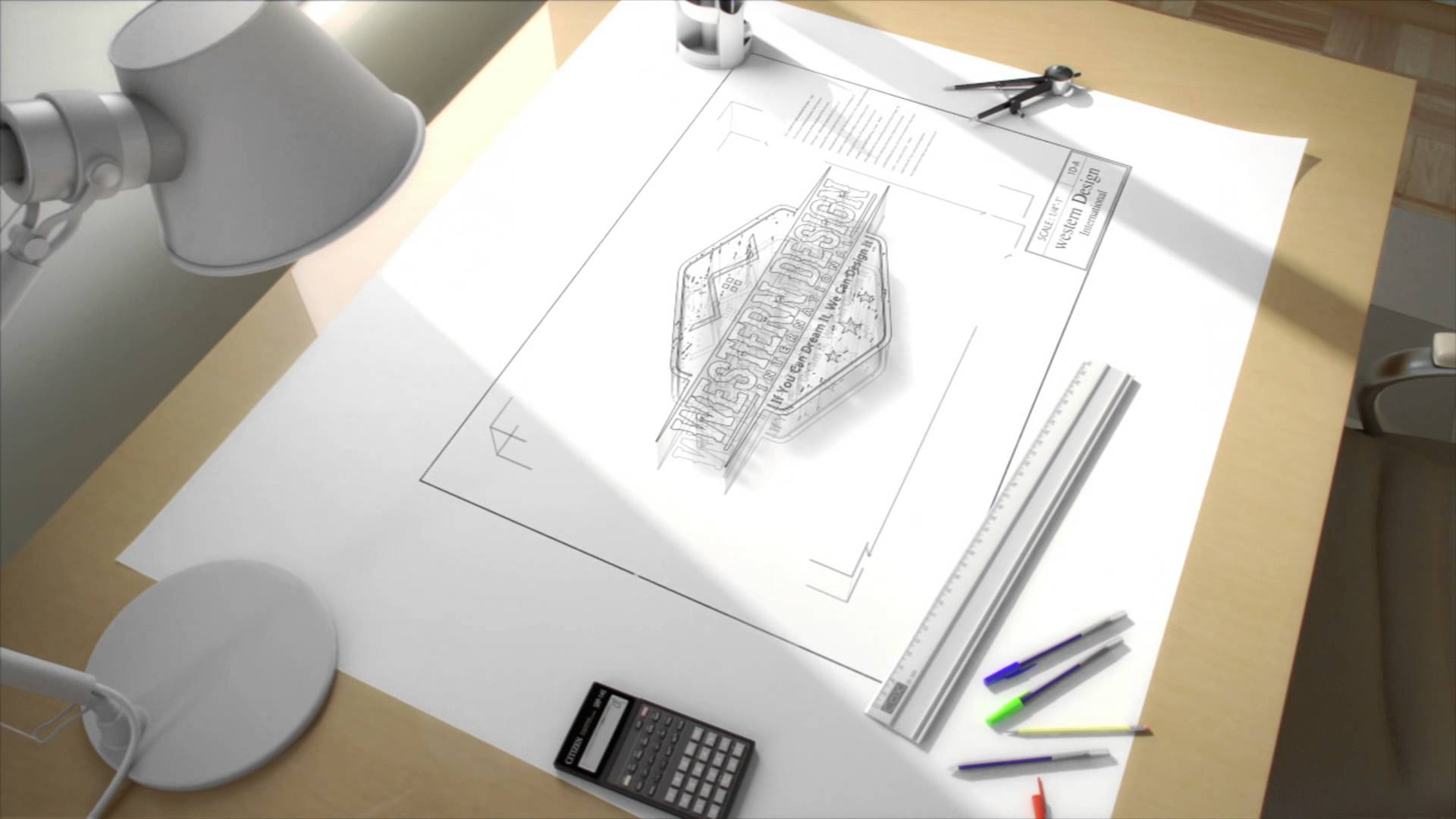 1920x1080 On the drawing board an architects Drafting table in 3d Building