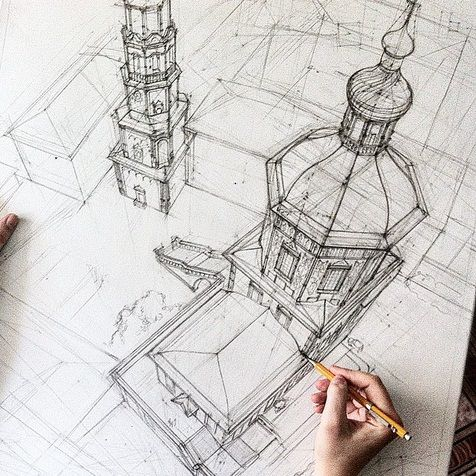 476x476 Votre Art Architectural Drawing By Adelina Gareeva Drawing