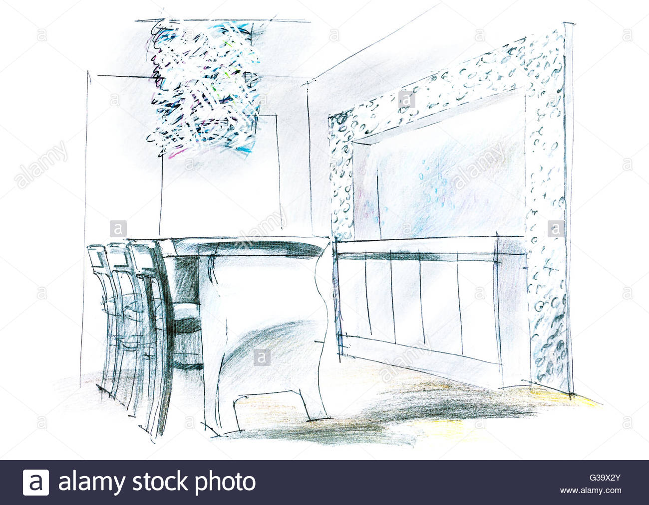 1300x1013 Freehand Sketch Perspective Architectural Drawing Of Living Room