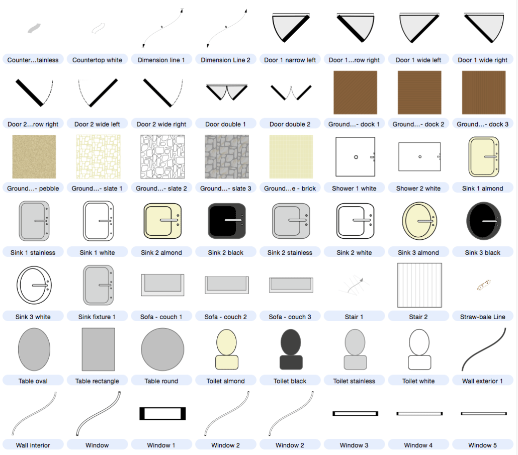 1030x905 Architecture, Buildings And Floor Plan Symbols Included
