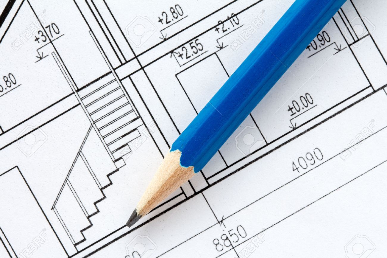 Superb 1300x866 Engineering And Architecture Drawings With Blue Pencil Stock Photo