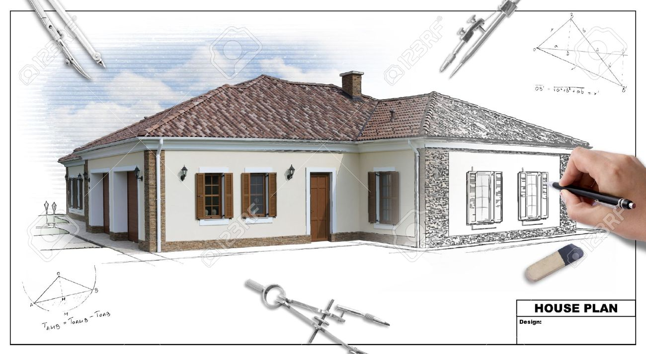 Architecture house drawing at free for for Printing architectural drawings