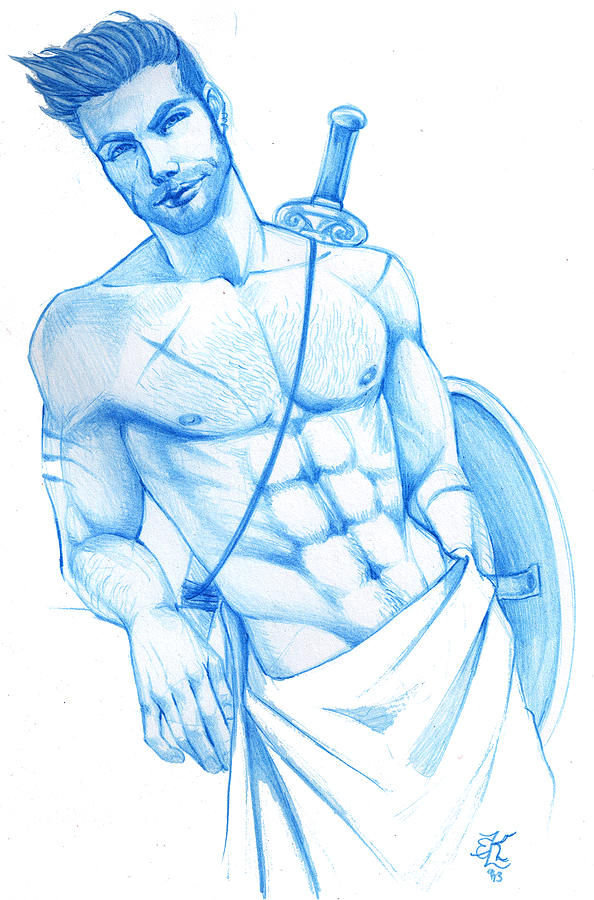 594x900 Modern Gods Ares Drawing By Lydia Kinsey