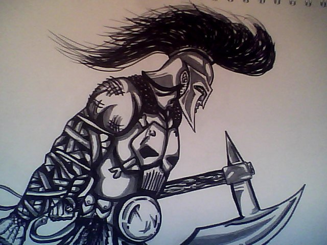 640x480 Uncoloured Ares Drawing By Alexejordan
