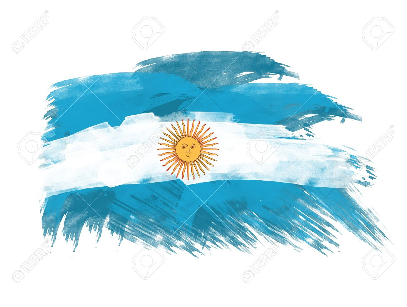 1300x982 Argentina Flag In Brush Strokes In White Background Stock Photo