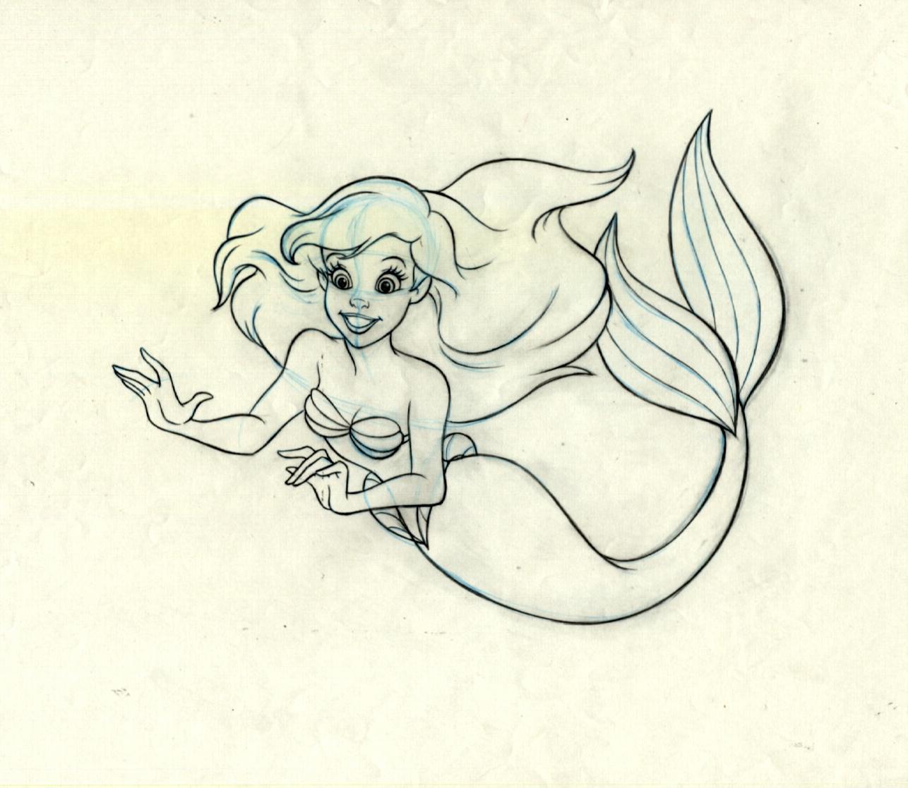 1286x1117 Ariel The Little Mermaid Original Production Drawing