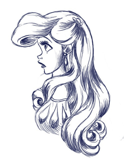 400x520 Disney Sketch With Color Ariel, Black And White, Disney, Disney