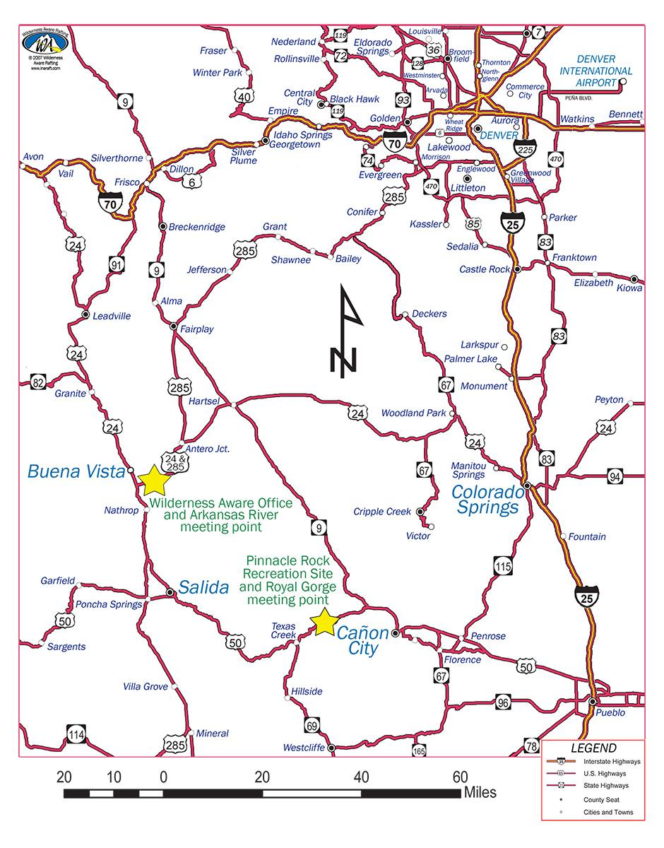 940x1200 Arkansas River Map Colorado Highway Road City Map