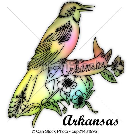 450x470 Arkansas State Bird Stock Illustration