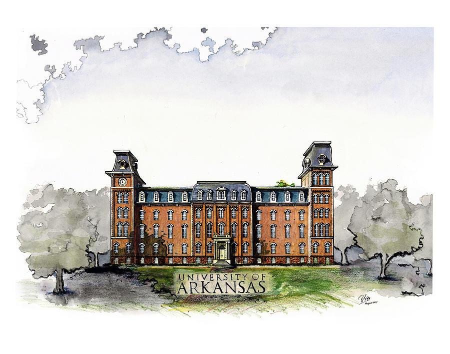 900x707 Old Main Of University Of Arkansas Diploma Size Drawing By Yang